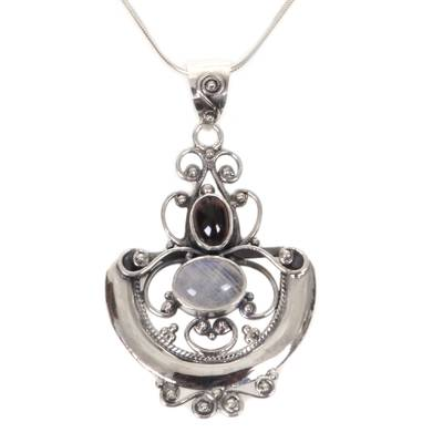 Rainbow moonstone and garnet pendant necklace, 'Arabesque' - Indonesian Sterling Silver and Rainbow Moonstone Necklace