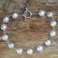 Pearl link bracelet, 'Sterling Contrasts' - Silver Bracelet with Pearl Accents