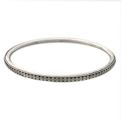 Sterling silver bangle bracelet, 'Moon Silver' - Sterling Silver Bangle Bracelet