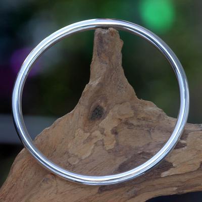 Sterling silver bangle bracelet, 'Moon Glow' - Unique Sterling Silver Bangle Bracelet