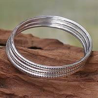 Sterling silver bangle bracelets, 'Moon Silver' (set of 3) - Hand Wrought Sterling Silver Bangles