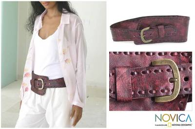 Leather belt, 'Red Phenomena' - Women's Modern Leather Belt