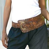 Leather belt, 'Brown Phenomena' - Wide Brown Asymmetrical Leather Belt Crafted in Bali
