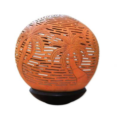 Unique Coconut Shell Carving with Stand