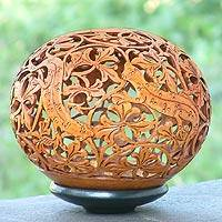 Coconut shell sculpture, 'Adventurous Geckos' - Coconut shell sculpture