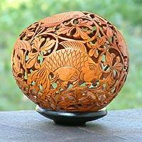 Coconut shell sculpture, 'Adventurous Fish' - Artisan Crafted Coconut Shell
