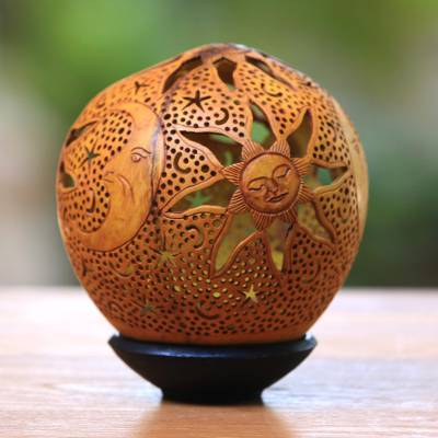 Coconut shell sculpture, 'Sun, Moon and Stars' - Hand Carved Coconut Shell Sculpture with Stand