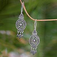 Sterling silver flower earrings, 'Temple Treasures' - Sterling Silver Chandelier Earrings