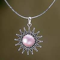 Cultured pearl pendant necklace, 'Pink Sunflower' - Artisan Crafted Floral Sterling Silver and Pearl Necklace