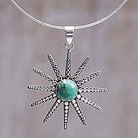 Sterling silver pendant necklace, 'Balinese Sunshine' - Handcrafted Turquoise Necklace from Bali and Java