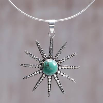Sterling silver pendant necklace, 'Balinese Sunshine' - Reconstituted Turquoise and Sterling Silver Necklace