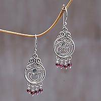 Garnet dangle earrings, 'Bali Melody' - Sterling Silver Garnet Chandelier Earrings