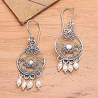 Pearl chandelier earrings, 'Bali Melody' - Sterling Silver Pearl Chandelier Earrings