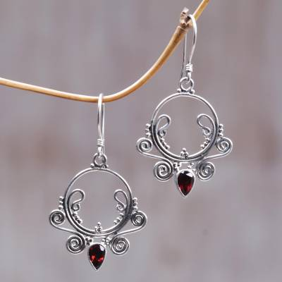 Garnet dangle earrings, 'Sundial' - Garnet dangle earrings