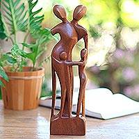Wood sculpture, 'Family Scene'
