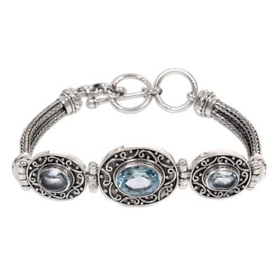 Blue topaz pendant bracelet, 'Tradition' - Blue Topaz Sterling Silver Bracelet