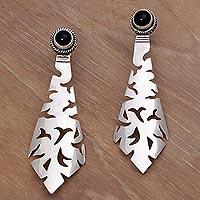 Onyx drop earrings, 'Silver Scimitar' - Onyx drop earrings