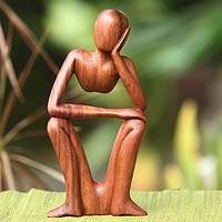 Wood sculpture, 'Thinking of You' - Handcrafted Indonesian Wood Sculpture