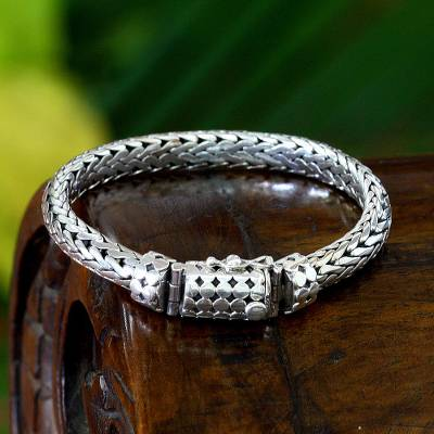 Men's sterling silver bracelet, 'Dragon' - Men's Sterling Silver Chain Bracelet