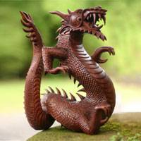 Wood statuette, 'Dancing Dragon II' - Suar Wood Sculpture from Indonesia