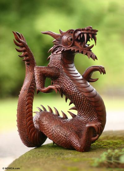 Wood statuette, 'Dancing Dragon II' - Suar Wood Sculpture from Indonesia