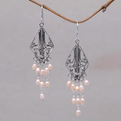 Pearl sterling silver chandelier earrings pink iridescence novica pearl chandelier earrings pink iridescence pearl sterling silver chandelier earrings aloadofball Choice Image