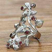 Garnet cocktail ring, 'Forest' - Unique Sterling Silver and Garnet Ring from Indonesia