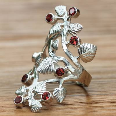 Garnet cocktail ring, 'Forest' - Sterling Silver and Garnet Cocktail RIng