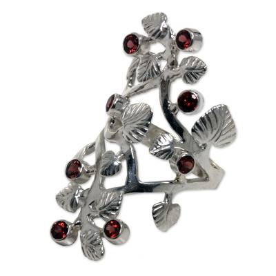 Sterling Silver and Garnet Cocktail RIng