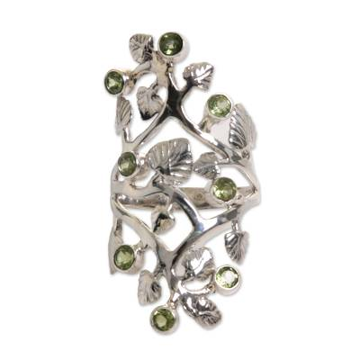 Peridot cocktail ring, 'Forest Light' - Cocktail Ring with Sterling Silver Leaves and Peridot Fruits