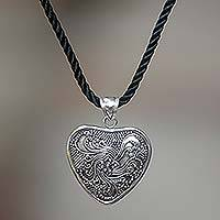 Sterling silver heart necklace, 'Flowery Heart' - Hand Crafted Floral Sterling Silver Necklace