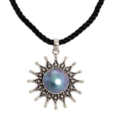 Pearl flower necklace, 'Sunflower Blue' - Handcrafted Floral Sterling Silver and Pearl Necklace