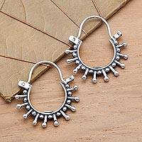 Sterling silver hoop earrings, 'Indonesia Star' - Sterling Silver Hoop Earrings