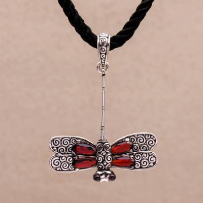 Garnet choker, 'Mysterious Dragonfly' - Garnet choker