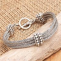 Sterling silver braided bracelet, 'Loyalty' - Sterling Silver Chain Bracelet