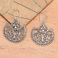 Sterling silver dangle earrings, 'Lace Fan' - Sterling Silver Dangle Earrings