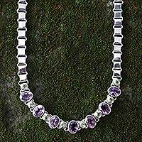 Amethyst and peridot choker, 'Exuberance' - Fair Trade Amethyst and Peridot Necklace