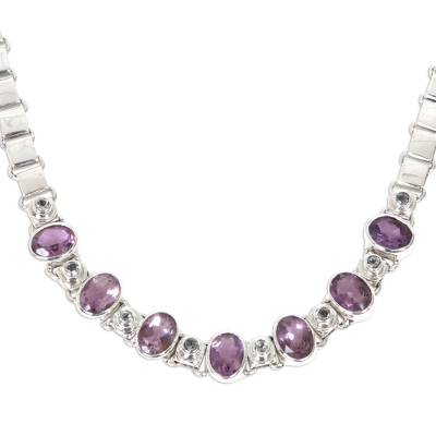 Amethyst and peridot choker, 'Exuberance' - Sterling Silver and Amethyst Choker