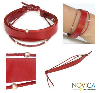 Leather bracelet, 'Red Buoyancy' - Leather Wristband Bracelet with Sterling Silver