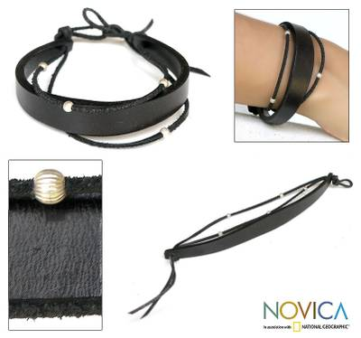 Leather cuff bracelet, 'Black Buoyancy' - Leather Wristband Bracelet