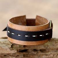 Leather bracelet, 'Sleek Chocolate' - Leather bracelet