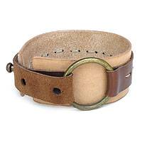 Leather bracelet, 'Sleek Caramel' - Tan Leather Wristband Bracelet