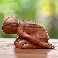 Wood sculpture, 'Yoga Position' - Wood sculpture