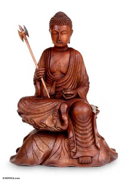 Wood sculpture, 'Buddha's Journey' - Unique Wood Sculpture from Indonesia