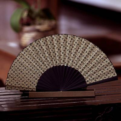Silk batik fan, 'Golden Rings' - Indonesian Batik Silk Patterned Fan