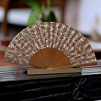 Silk batik fan, 'Black Fern' - Women's Handmade Silk Batik Fan