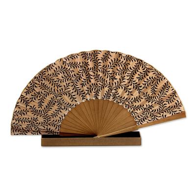 Silk batik fan, 'Black Fern' - Women's Handmade Silk Batik Fan