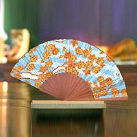 Silk batik fan, 'Springtime' - Indonesian Batik Silk Fan Accessory