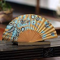 Silk batik fan, 'Golden Paradise' - Handmade Silk Batik Fan