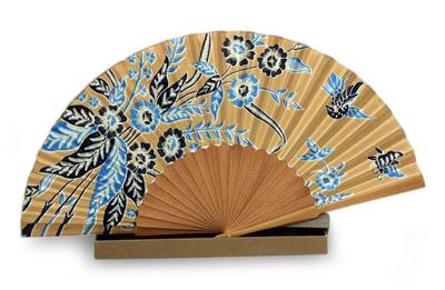 Silk batik fan, 'Golden Paradise' - Handmade Silk Batik Fan